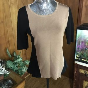 Sophisticated Taupe and Black Rayon Sweater
